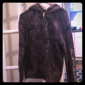 Hooded zip up army printed grey and black